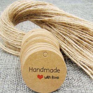 Handmade with love craft logo tags 100 PCS